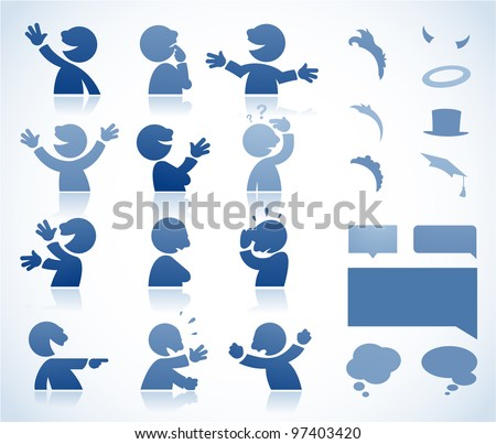 Set of talking characters in various postures - perfect for infographics or comics - stock vector