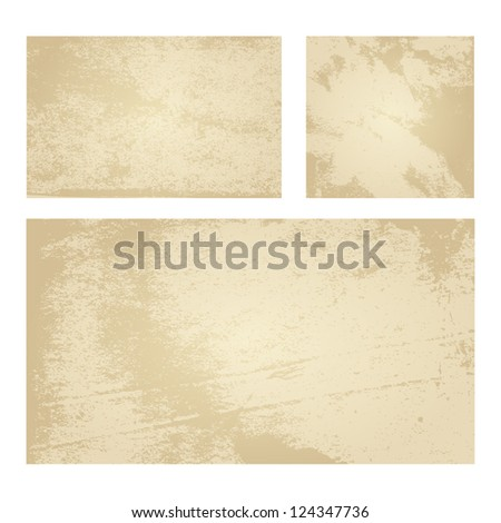 Set of Tan Vector Backgrounds with Grunge Paper Texture - stock vector