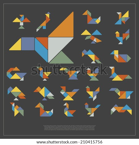 Set of tangram birds - vector illustration - stock vector