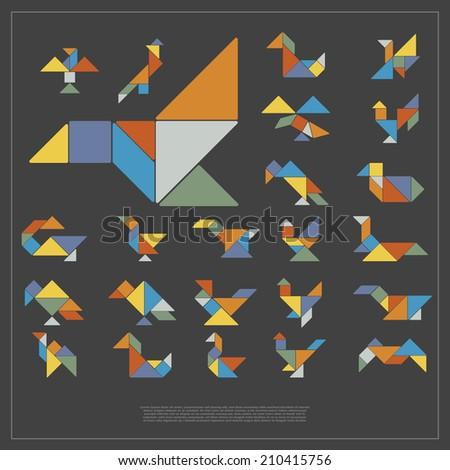 Set of tangram birds - vector illustration - stock vector