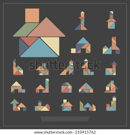 set of tangram houses vector illustration