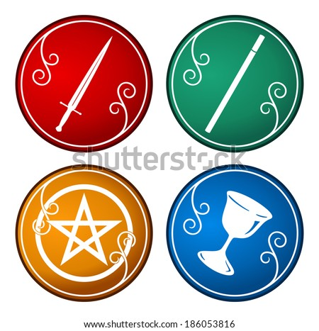 set of tarot symbol - stock vector