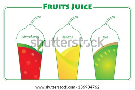 Set of tasty squeezed juices artwork. - stock vector