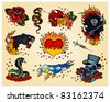 Set of Tattoo's - stock vector