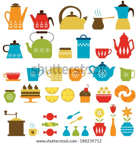 Set of tea and coffee things. - stock vector