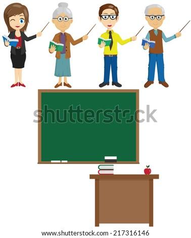 Set Of Teacher Character With Blackboard - stock vector