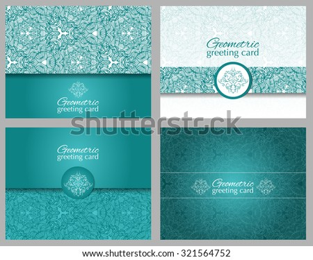 Set of teal, aqua greeting cards or invitations with ornament for party or wedding. - stock vector