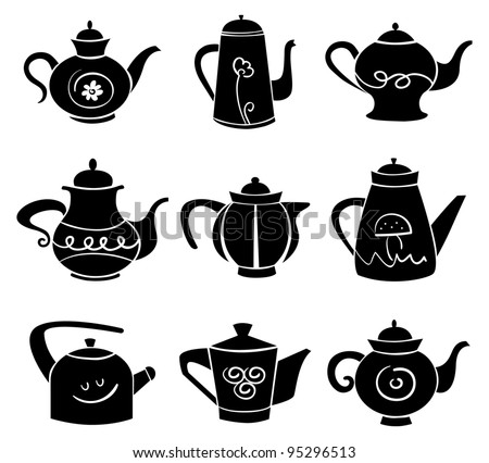 Set of teapot - stock vector