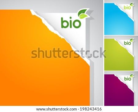Set of teared papers with bio sign. - stock vector
