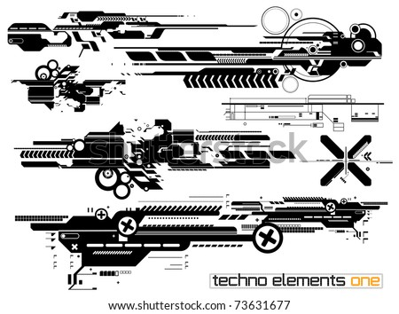 Set of techno composition for print multimedia and web - stock vector
