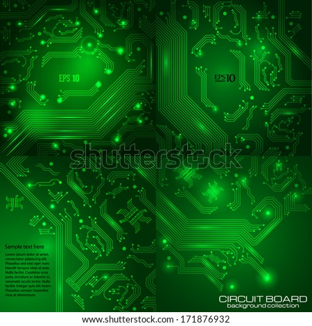 Set of technology backgrounds with circuit board elements. - stock vector