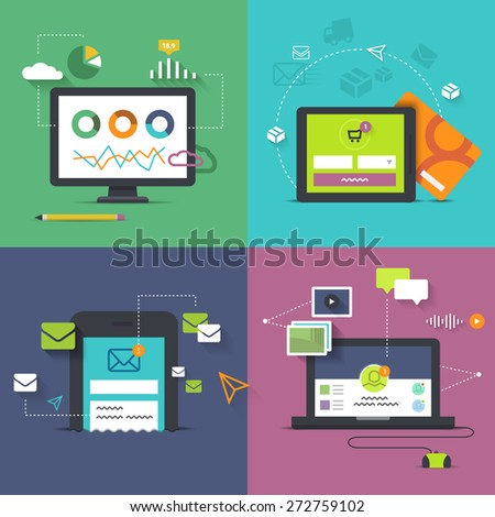 set of technology illustrations with handheld devices in the connection with online shopping, social networking, analytics and sms/email marketing
