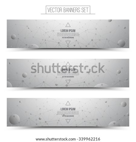 Set of technology vector light gray web banners. Internet advertising business. Connection structure. Technology background. Design vector elements. Media advertising business. Science background - stock vector