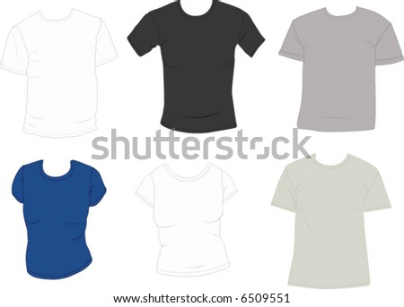 Set of tee shirts ready to add designs. Mens and ladies.   Easily edit and change the colors. - stock vector