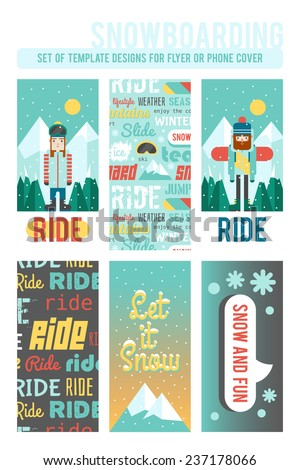 Set of template designs for flyer or phone cover. Cute flat style. Snowboarding and winter time. - stock vector