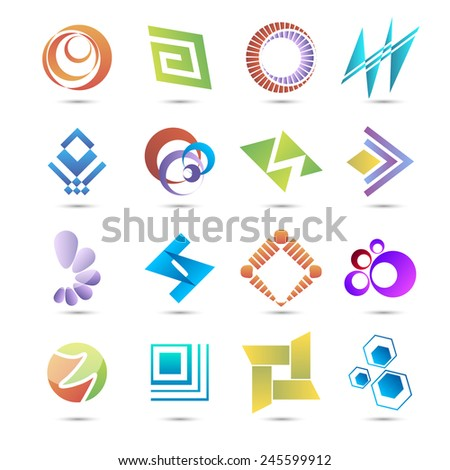 Set of templates abstract logos. Vector illustration. EPS 10 - stock vector