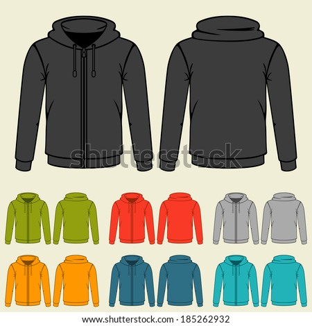 Set of templates colored sweatshirts for men. - stock vector