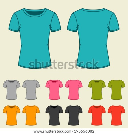 Set of templates colored t-shirts for women. - stock vector