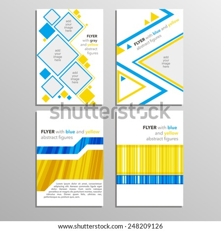 Set of templates  flyers,brochures  in  blue and yellow colors. EPS 10 - stock vector