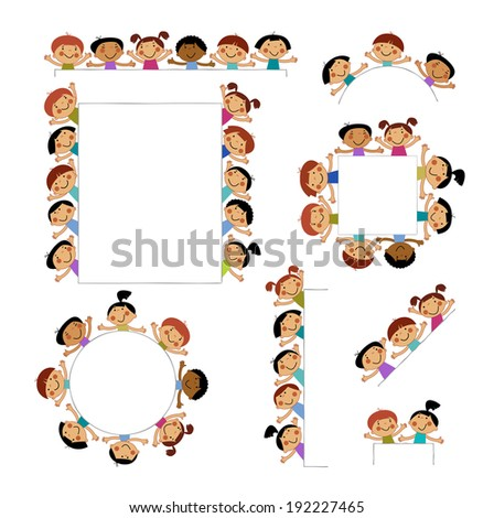 set of templates for children peeking placard background with isolated image of funny kids - Templates For Children