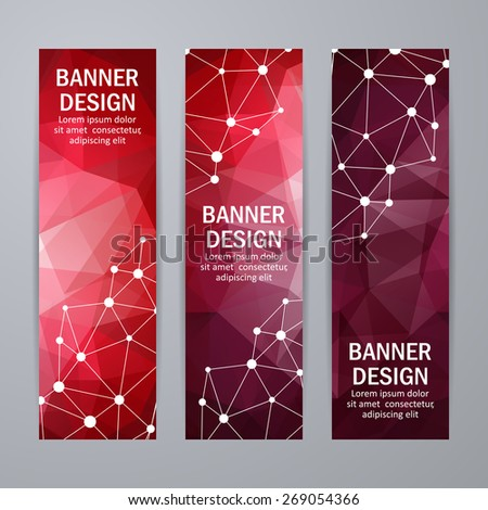 Set of templates for design of vertical banners, covers, posters, web pages in geometric graphic style. Abstract modern polygonal backgrounds. Vector illustration EPS10 - stock vector