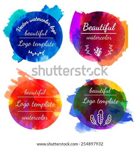 Set of templates, logos, signs. Watercolor texture. Watercolor splashes. Dark colors. Place for your text. vector  - stock vector