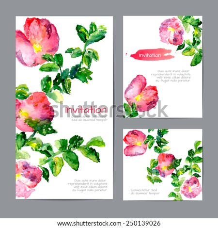 Set of templates of cards. Watercolor blooming flowers and branches of wild rose. Vector illustration. - stock vector