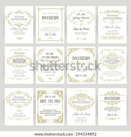 set of templates with banners vintage design elements - stock vector