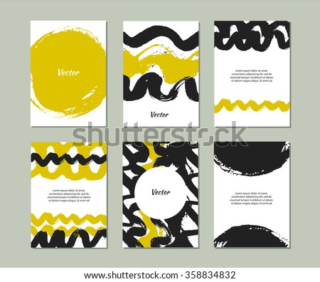 Set of templates with hand drawn textures made with ink. Collection with vector grunge banners - stock vector