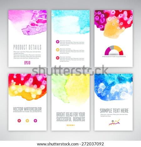 Set of templates with watercolor splash - stock vector