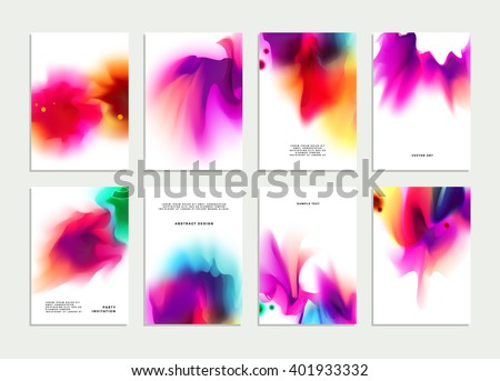 Set of Templates with Watercolor Splashes. Holi Paint Texture. Abstract Bright Colorful Banners Collection. Rainbow Colored Cards Design. - stock vector