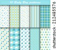 Set of ten baby boy vector seamless patterns in blue and green colors. Endless texture can be used for web design, printing onto fabric and paper or scrapbooking. Swatches included - stock vector