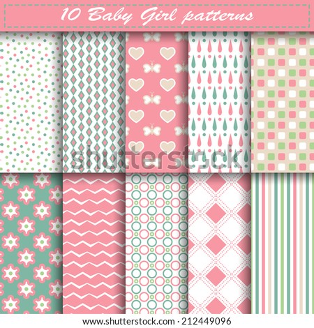 Set of ten baby girl vector seamless patterns in pink and blue colors. Endless texture can be used for web design, printing onto fabric and paper or scrapbooking. Swatches included - stock vector