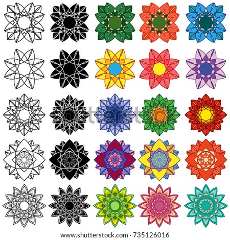 Set of ten black and fifteen colorful stylized flowers, vector illustrations isolated on the white background