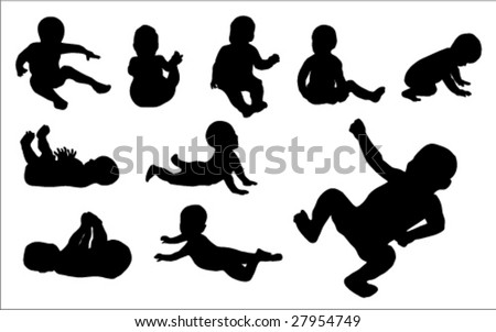 Set Of Ten Black Baby Silhouette Vector Illustrations - stock vector
