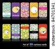 Set of ten cartoon cards - stock vector