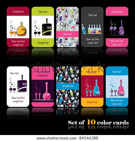 Set of ten color cards with bottles - stock vector