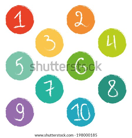 Set Ten Colorful Number Tags Ragged Stock Vector 198000185 ...
