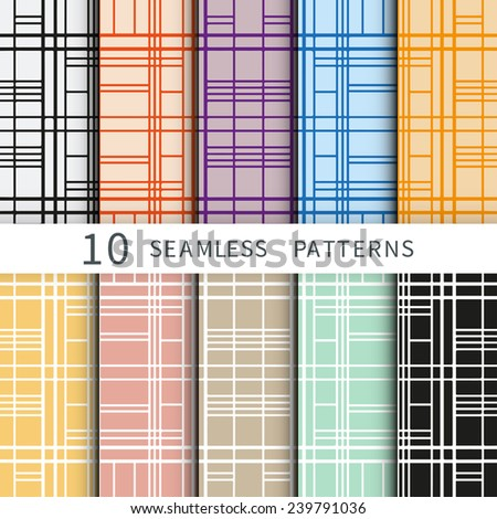 Set of ten geometric backgrounds. Hand-drawn patterns collection. Can be used for card design, wallpaper, pattern fills, web page background, surface textures - stock vector