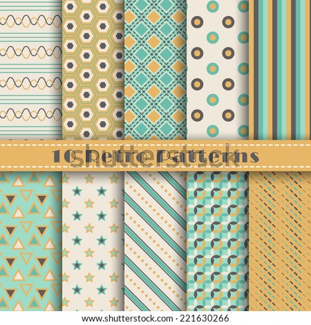 Set of ten geometric retro vector seamless patterns colors. Endless texture can be used for web design, printing onto fabric and paper or scrapbooking. Swatches included