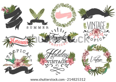 set of ten hawaii logos tropical collection - stock vector