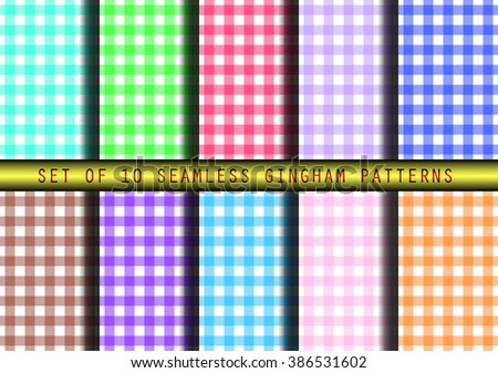 Set of ten seamless gingham patterns.  Boho / indie / hipster/ countryside vintage style.  - stock vector