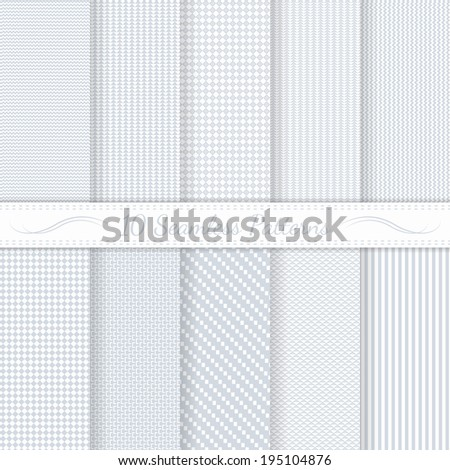 Set of ten subtle seamless patterns. Monochrome. Classic. Soft colors. Swatches of seamless patterns included in the file.   - stock vector