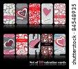 Set of ten valentine cards - stock vector