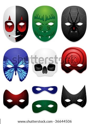 Set of ten vector masks in various styles - stock vector