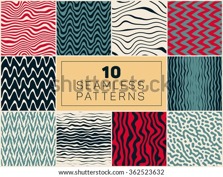Set of Ten Vector Seamless Hand Drawn Rough Line Patterns In Blue Red Navy and White Colors Artistic Textures Bundle - stock vector