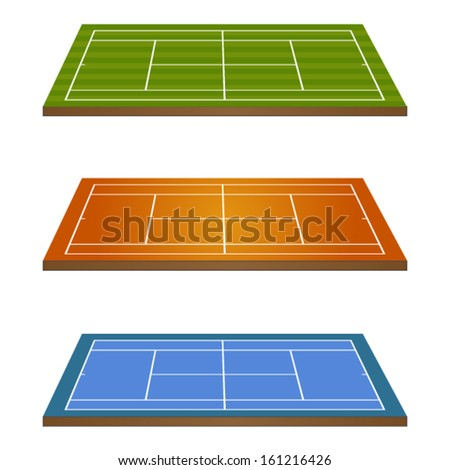 Set of Tennis Courts 3D Perspective 2 - stock vector