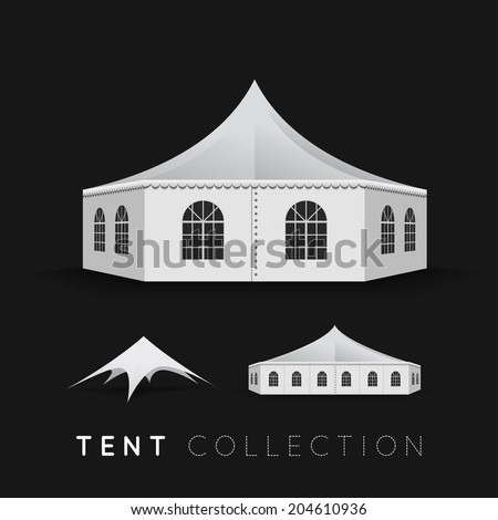 Set of tents. Vector illustration on dark background - stock vector