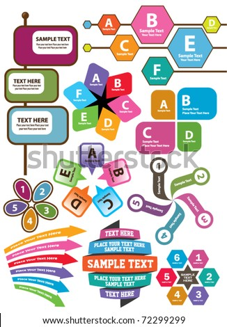 set of text box and design elements - stock vector