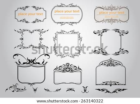 set of thai art ornament, thai vintage elements design,thai culture decorative border template. - stock vector